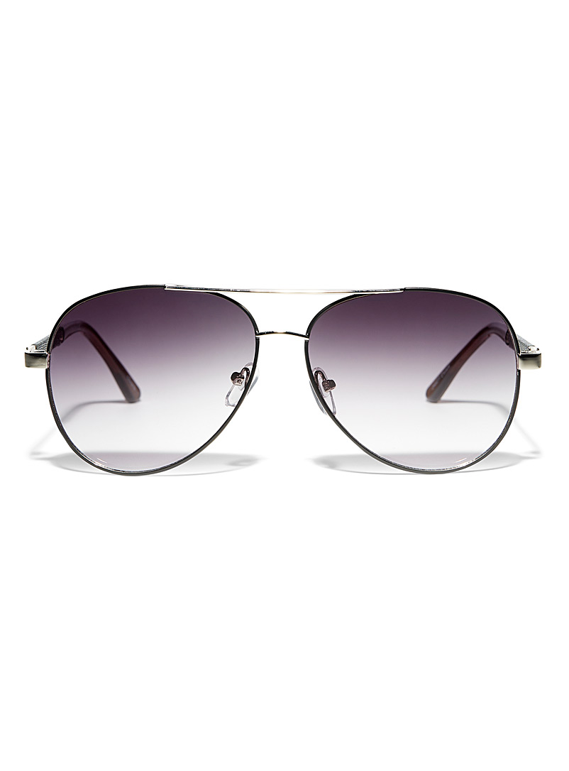Simons Silver Double-bridge aviator sunglasses for women