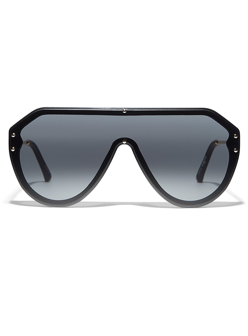 Simons Black Magnus visor sunglasses for women