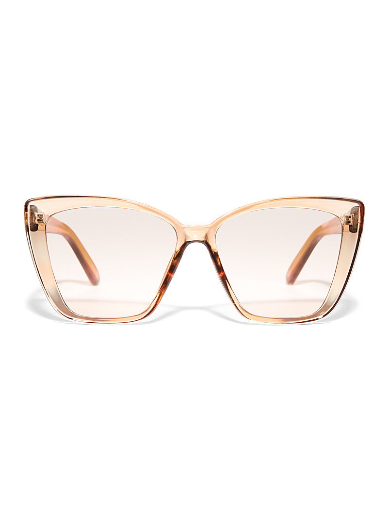 Simons Cream Beige Oversized cat-eye sunglasses for women