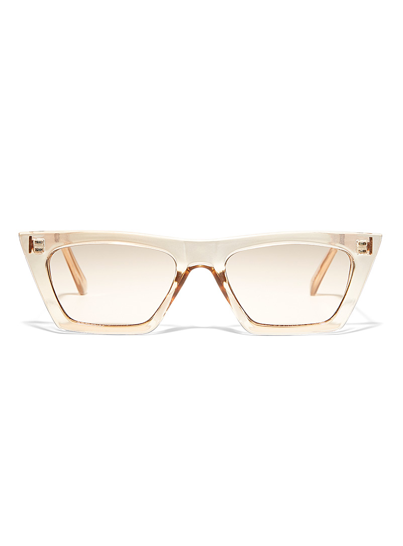 Simons Cream Beige Dania rectangular sunglasses for women