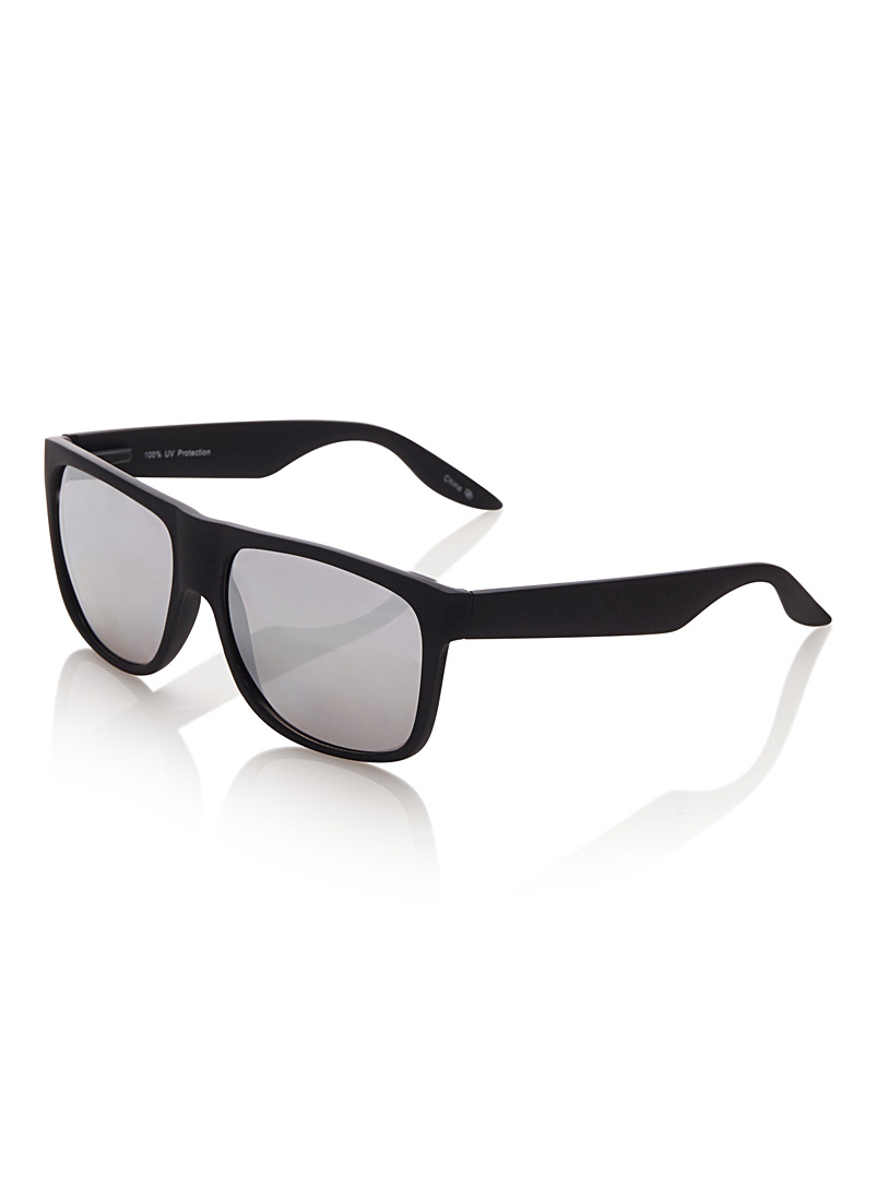 Le 31 Black Dash rectangular sunglasses for men