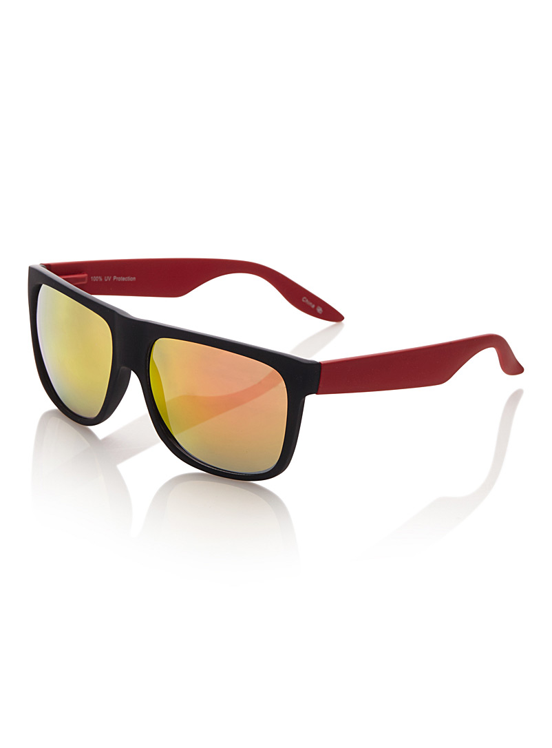 Le 31 Patterned Red Dash rectangular sunglasses for men