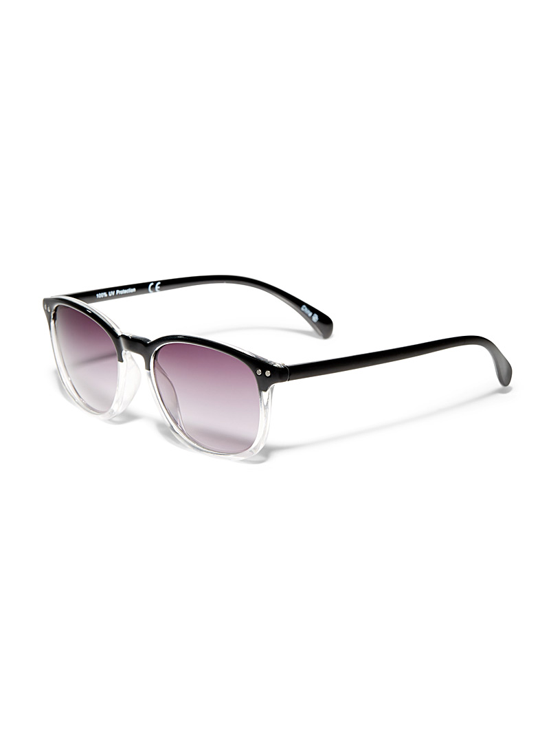 Le 31 Patterned Black Rivet retro sunglasses for men