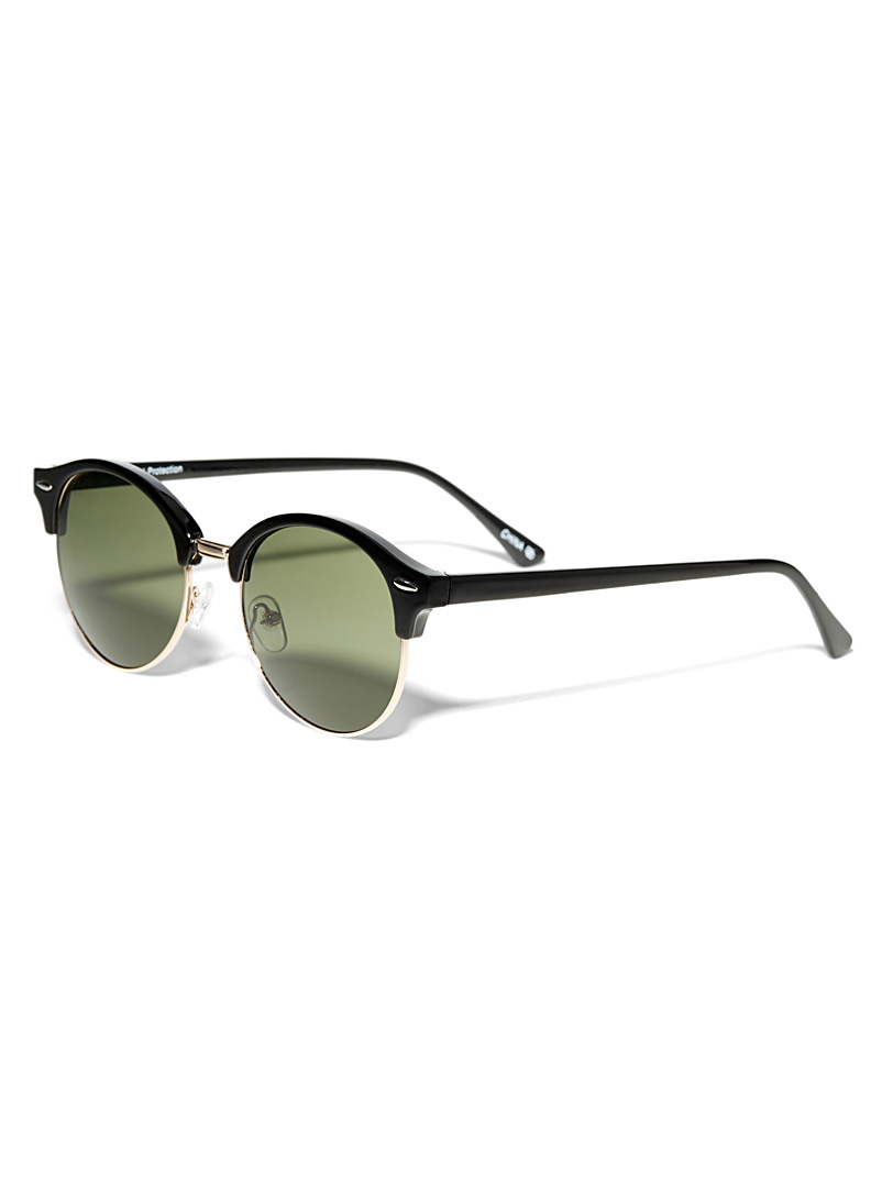 Le 31 Patterned Brown Havanna round sunglasses for men