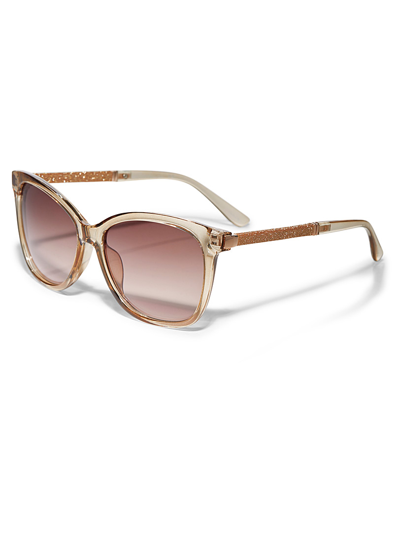 Simons Cream Beige Desi shimmery sunglasses for women