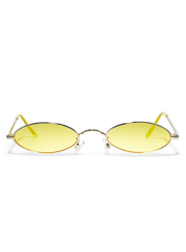 Le 31 Golden Yellow Colourful-lenses oval sunglasses for men