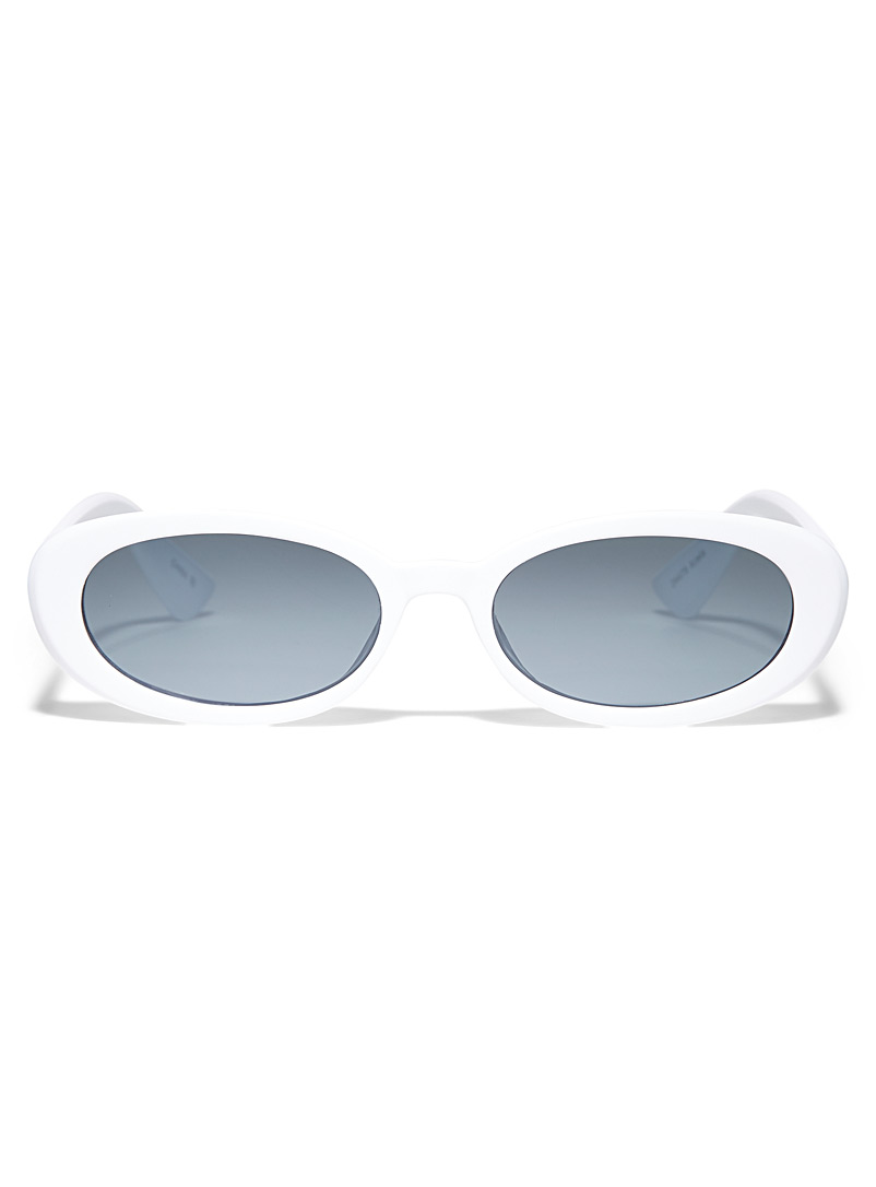 Simons White Ariela oval sunglasses for women