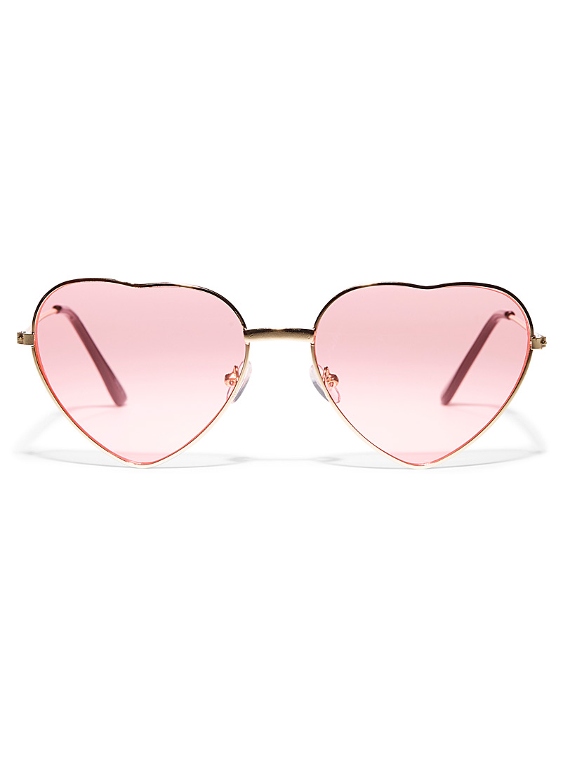 Simons Assorted Linda heart-shaped metallic sunglasses for women