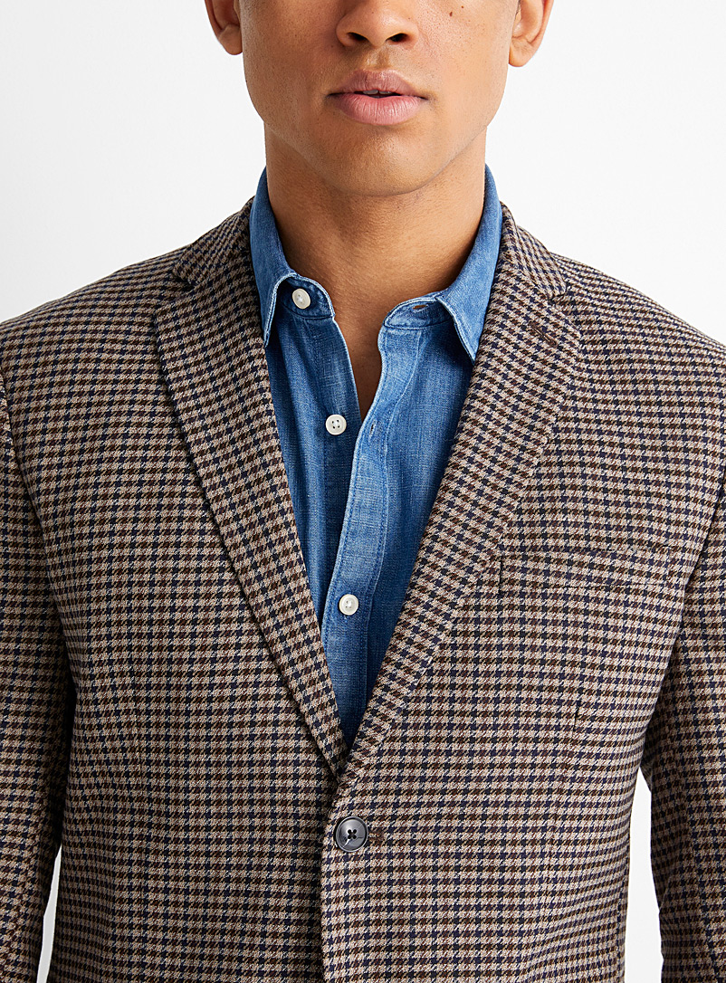 Selected Patterned Brown Gingham jacket  Semi-slim fit for men