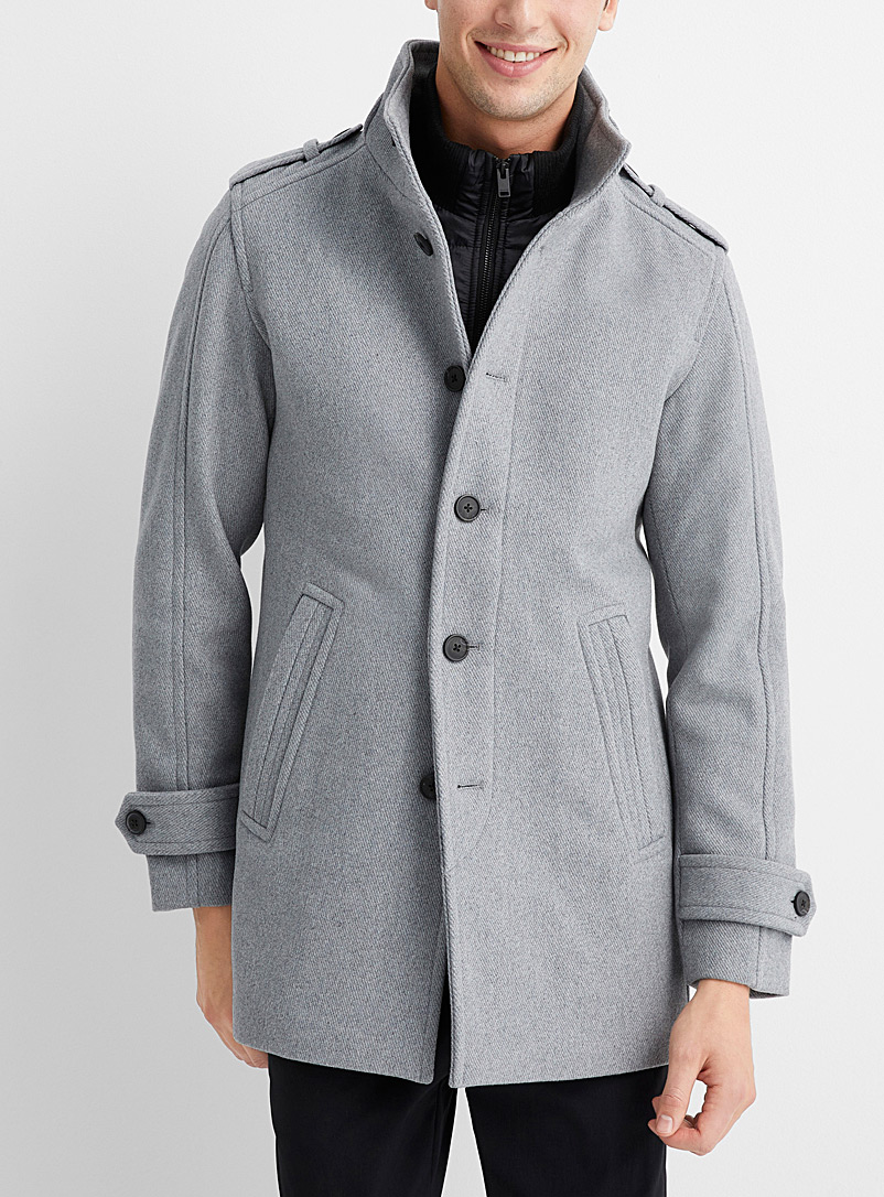 Selected Light Grey Double-collar ash grey coat for men