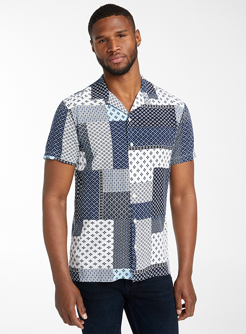 Selected Patterned White Patchwork camp shirt for men