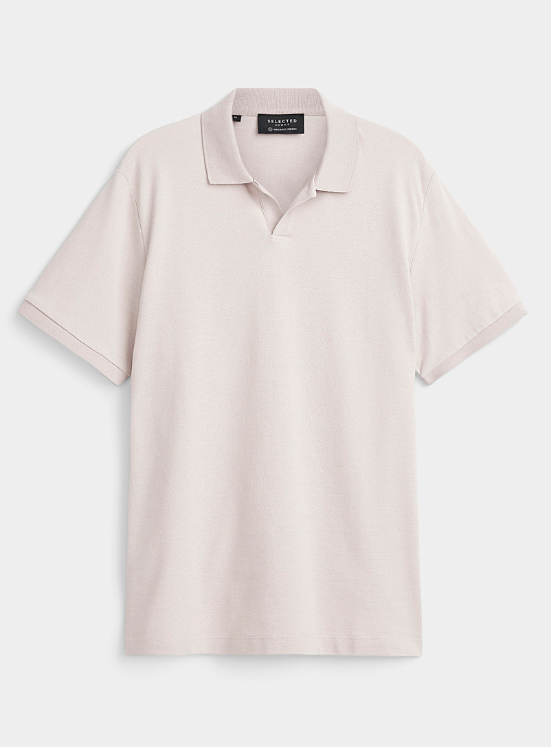 Selected Patterned Ecru Open collar heathered piqué polo for men