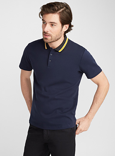 Striped knit-collar polo
