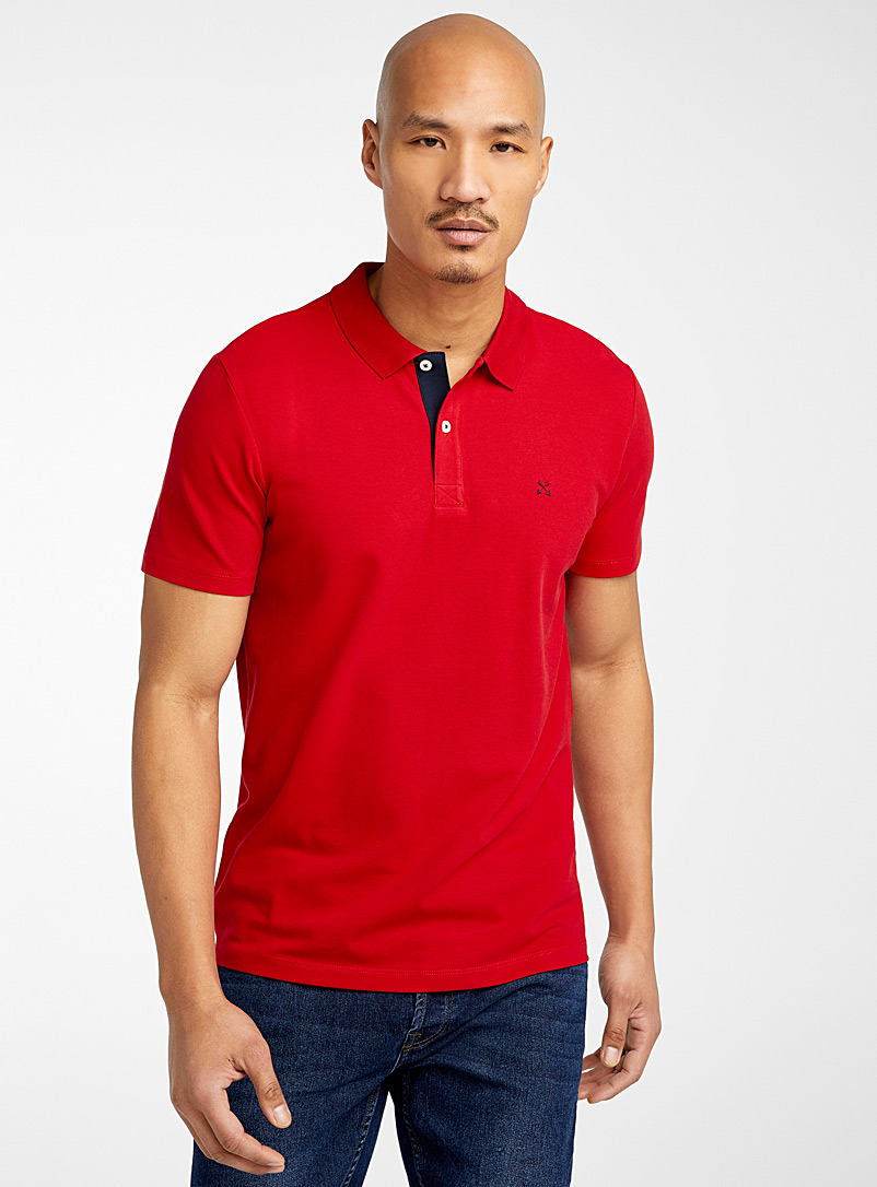 Selected Red Stretch piqué polo for men