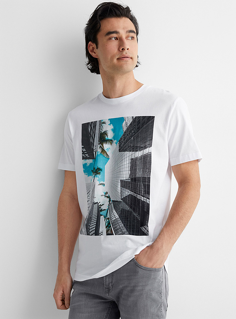 Selected White Panoramic photo T-shirt for men