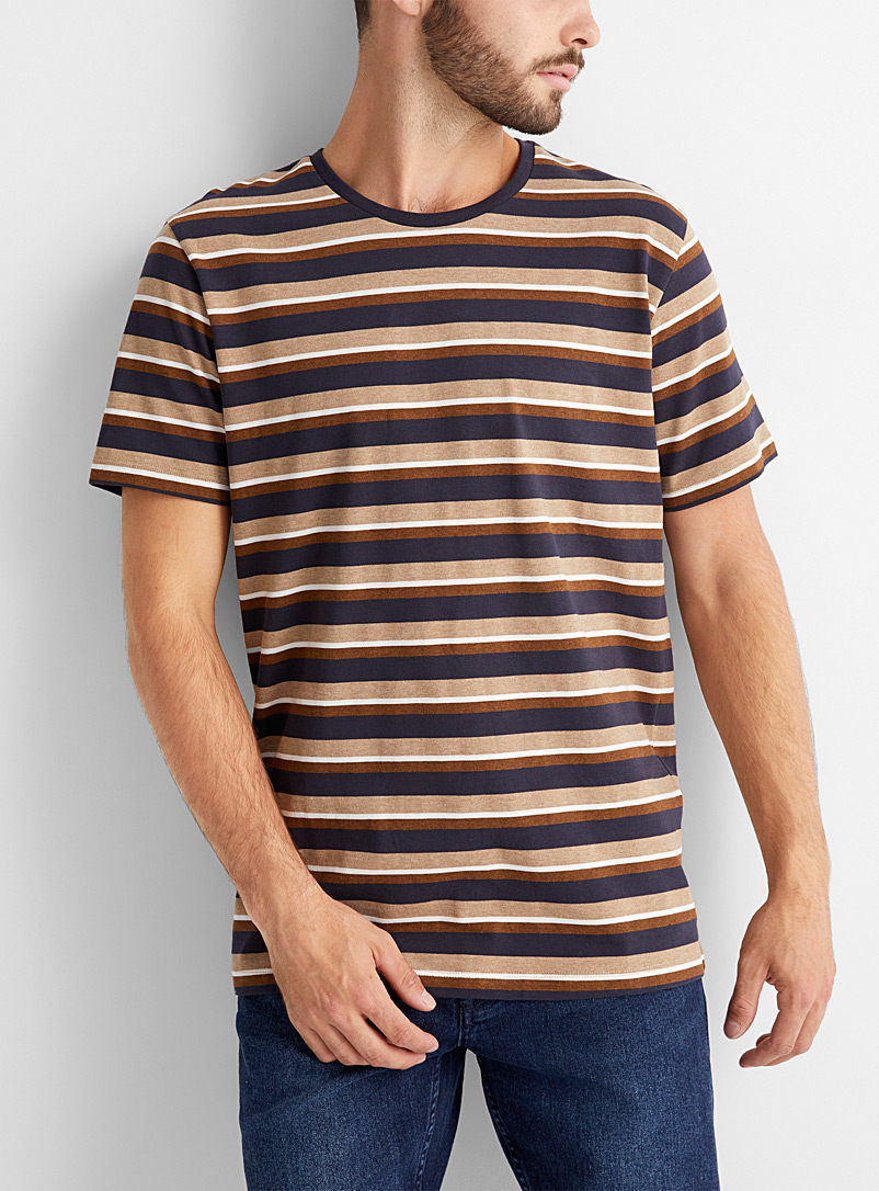 Selected Light Brown Accent stripe T-shirt for men
