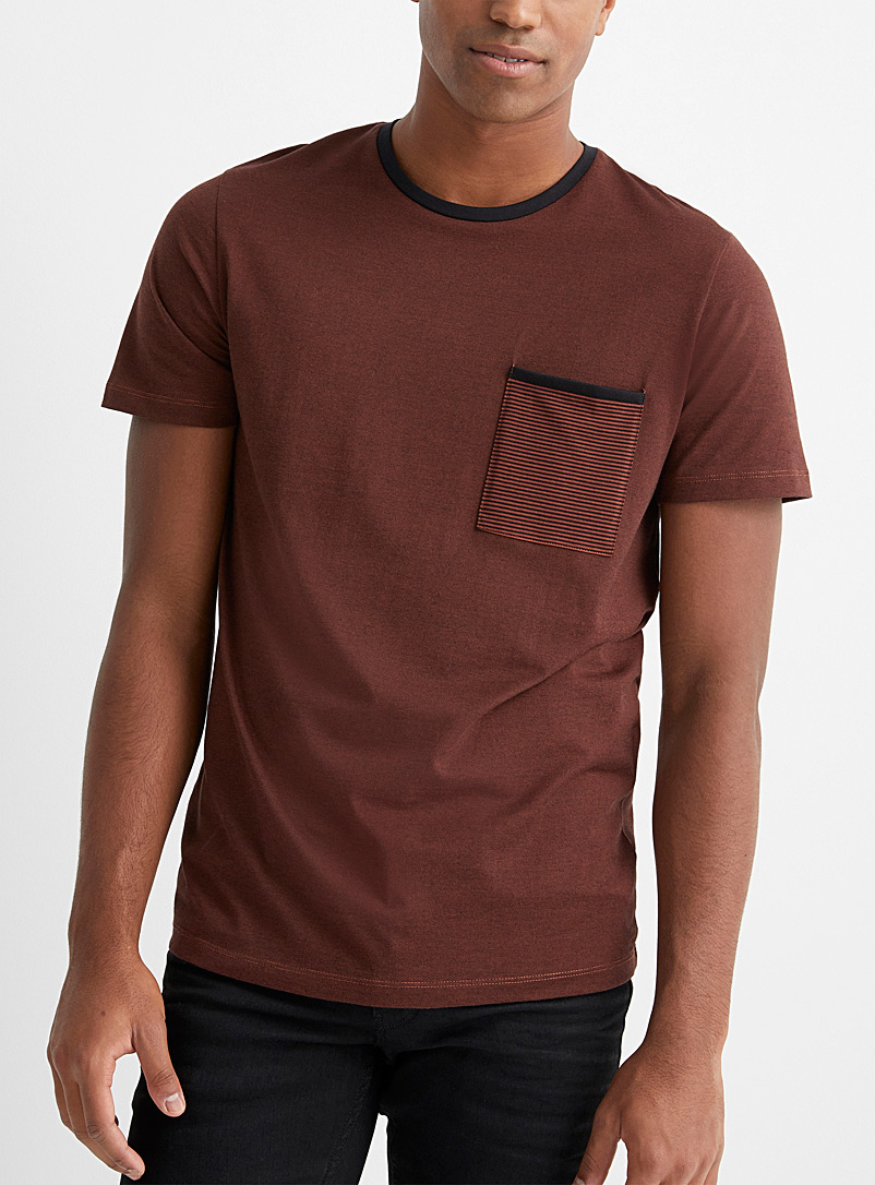 Selected Brown Striped small pocket T-shirt for men