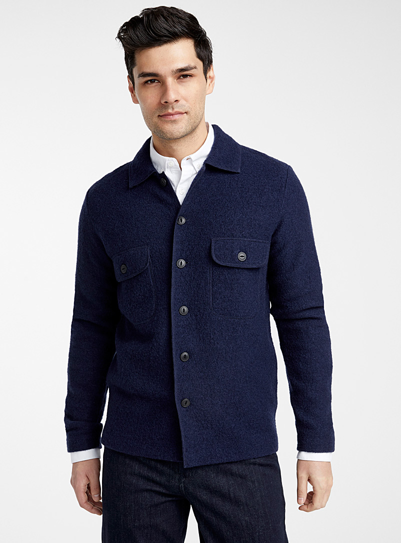 Selected Dark Blue Boiled wool shirt for men