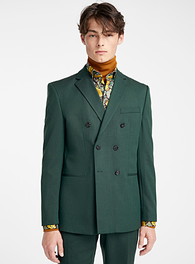 Bottle green double-breasted jacket <br>Semi-slim fit