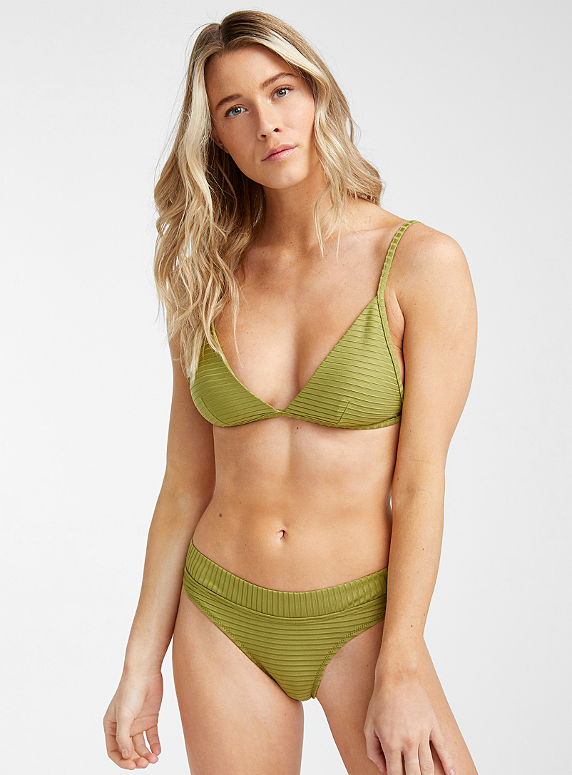 Rip Curl Khaki Wide rib triangle bralette for women