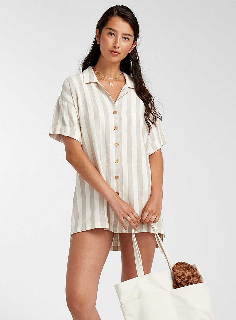 Rip Curl Patterned White Striped shirt tunic for women