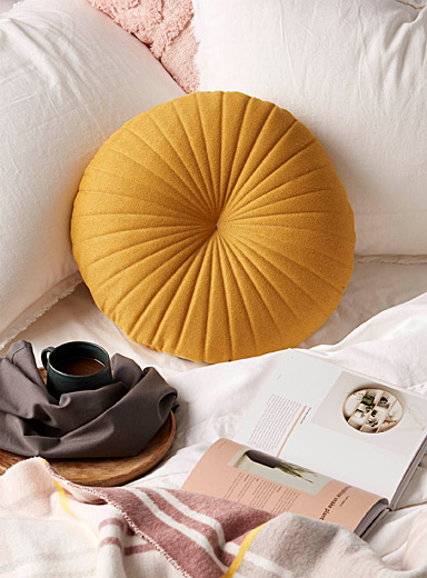 Ochre fine herringbone cushion <br>35 cm in diameter
