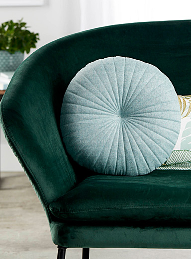 Teal fine herringbone cushion  35 cm in diameter