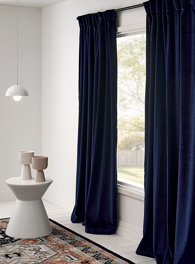Silky velvet curtain  52&quote; x 86&quote; - Solid - Marine Blue
