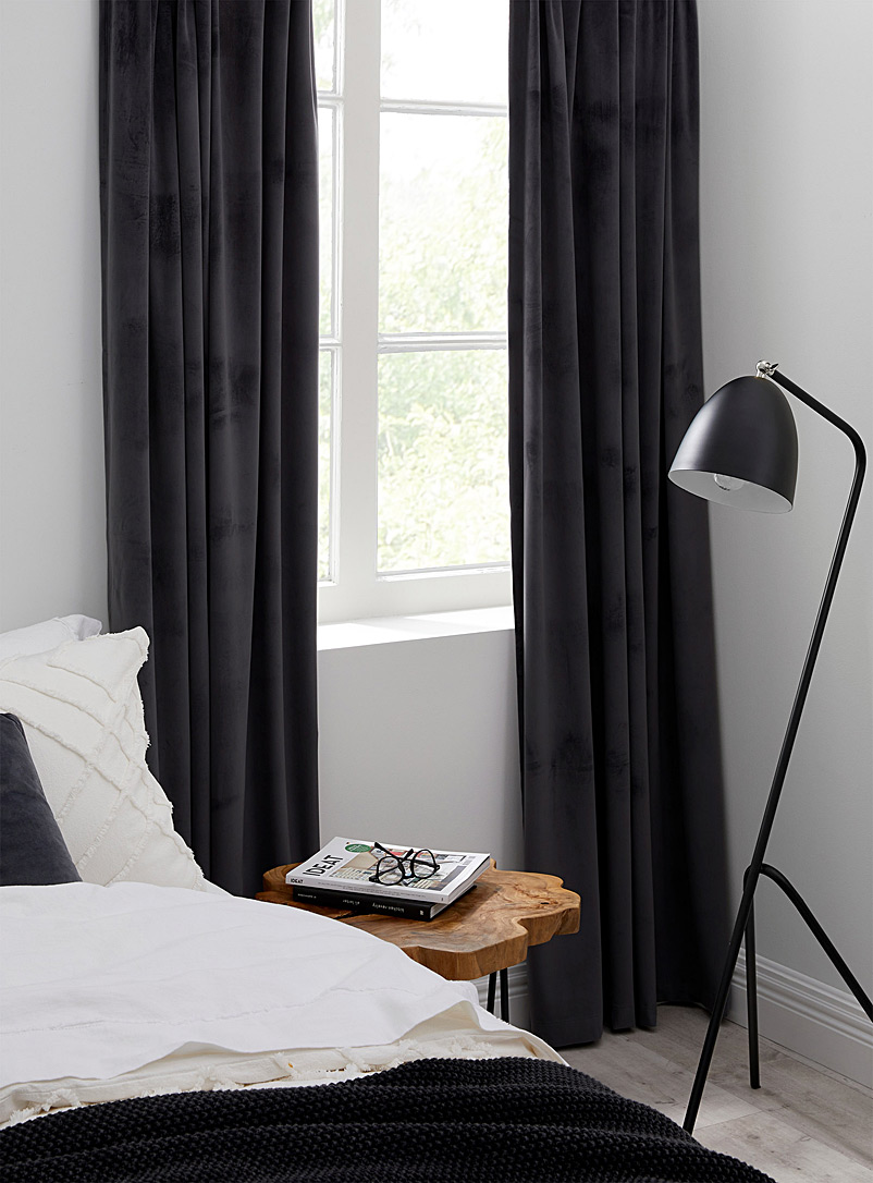 Silky velvet curtain  52&quote; x 86&quote; - Solid - Dark Grey
