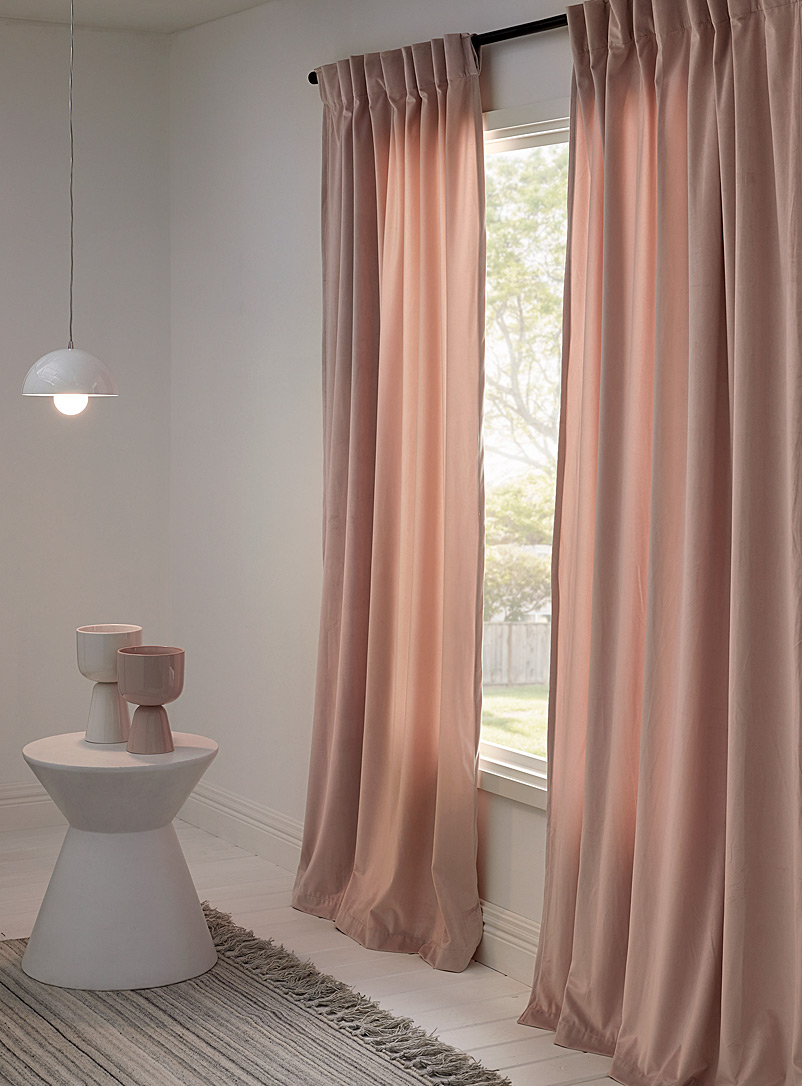 Silky velvet curtain  52&quote; x 86&quote; - Solid - Dusky Pink