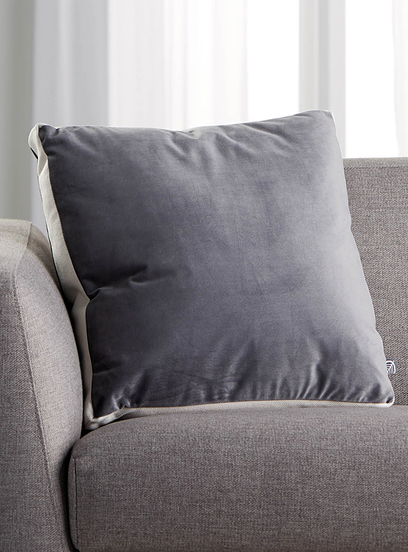Velvet square cushion  45 cm x 45 cm - Solid - Dark Grey