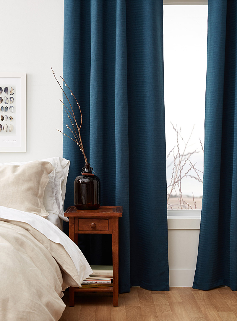 Fine herringbone curtain  135 x 220 cm - Printed - Dark Blue
