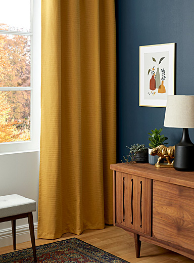 Ochre fine herringbone curtain