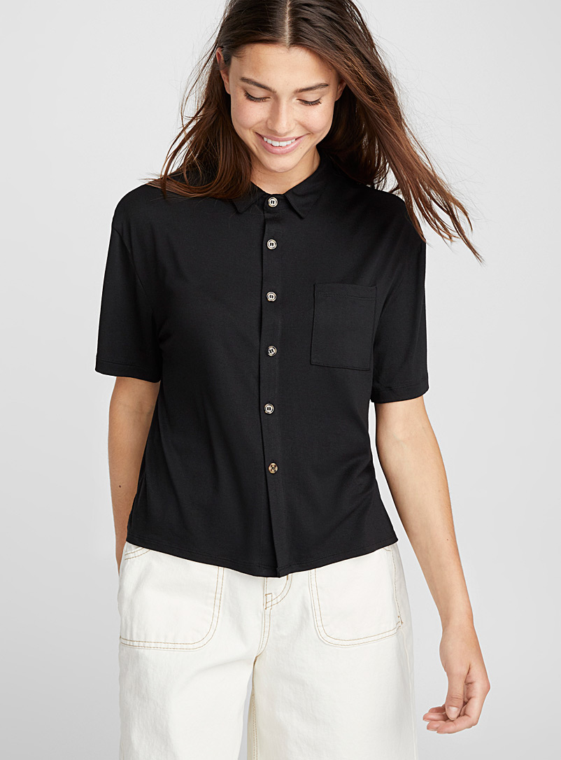 Cropped buttoned blouse - Shirts - Black