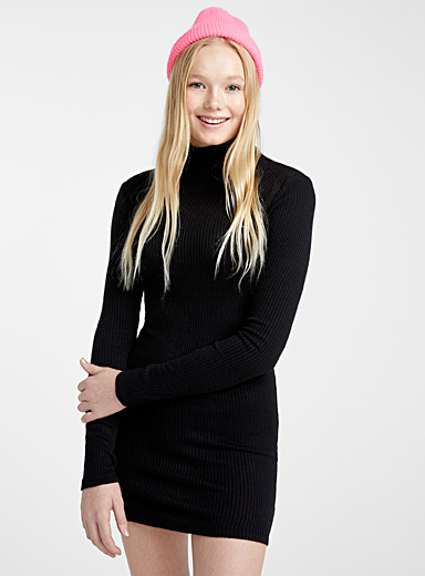 Soft ribbed high-neck dress
