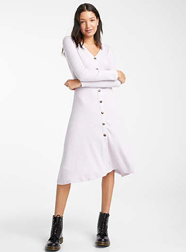 Ribbed flared button dress