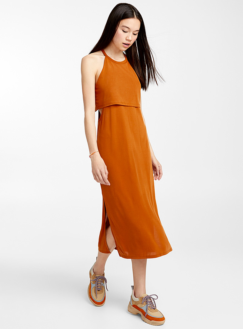 Layered cami dress - Straight - Brown