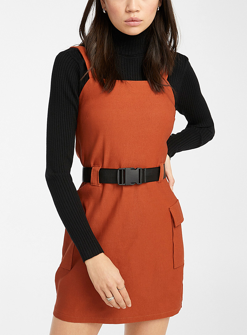 Twik Dark Orange Belted safari dress for women