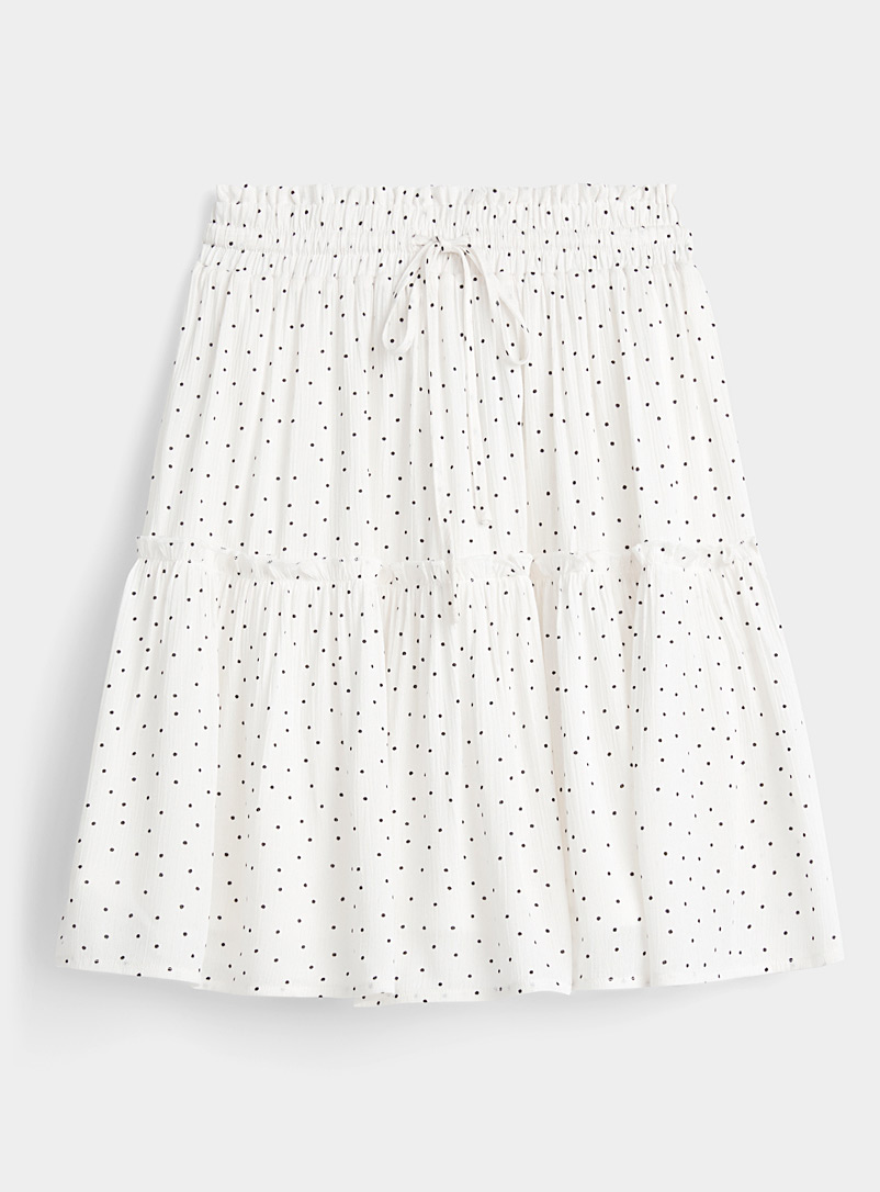 Twik Black and White Dot and ruffle skirt for women