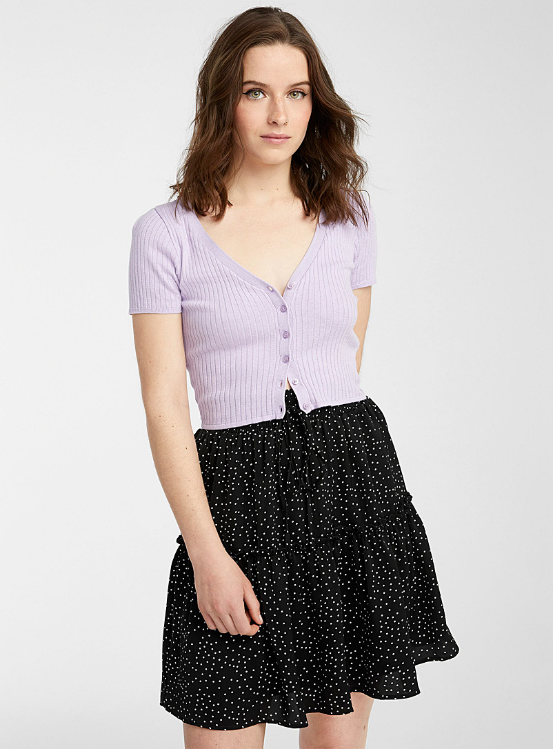 Twik Patterned Black Dot and ruffle skirt for women
