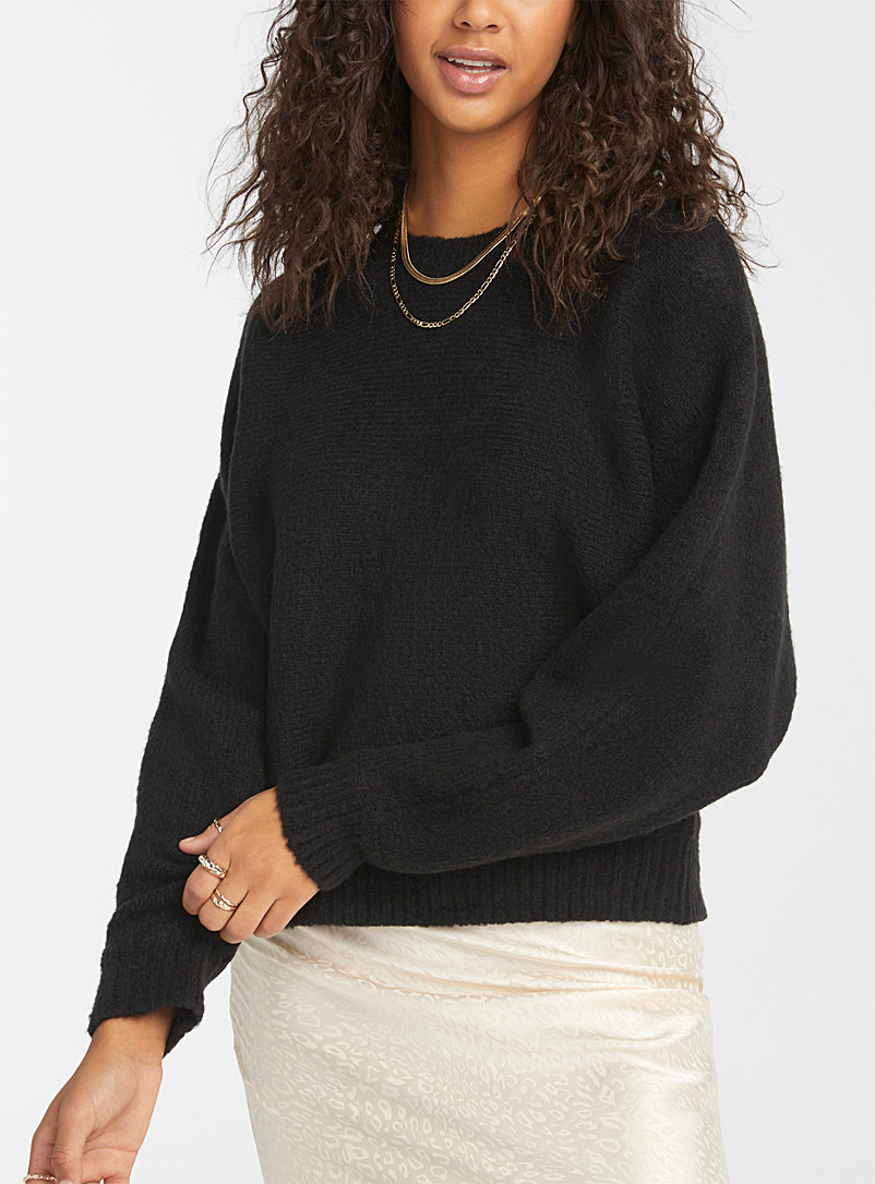 Twik Black Cozy knit drop-shoulder sweater for women