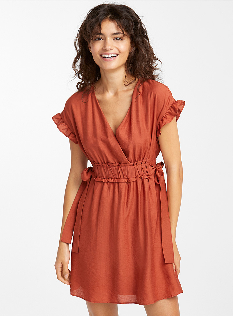 Bow and ruffle dress - Fit & Flare - Orange