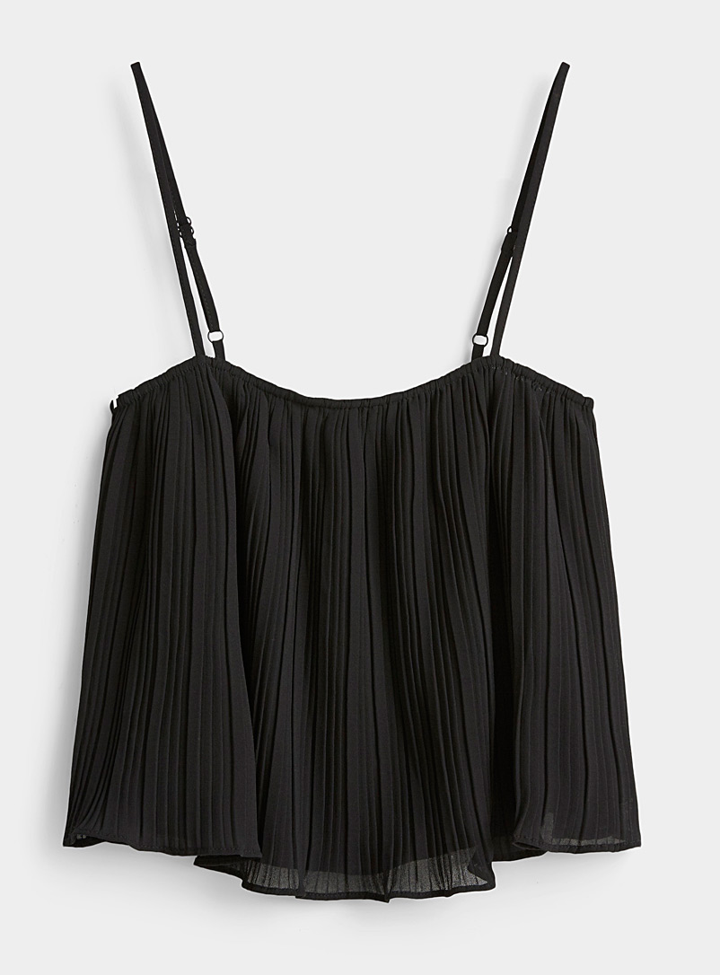 Twik Black Pleated voile cropped cami for women