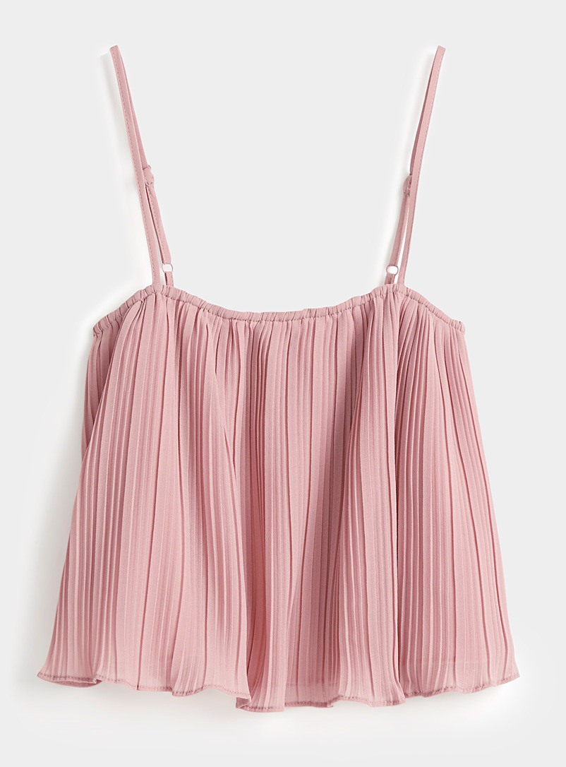 Twik Mauve Pleated voile cropped cami for women