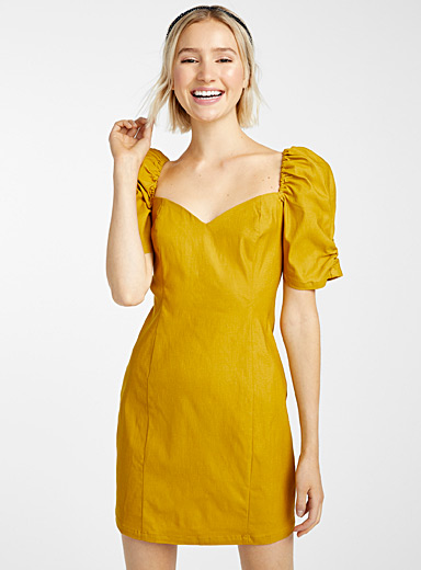 Twik Golden Yellow Puff sleeve heart-shaped neck dress for women
