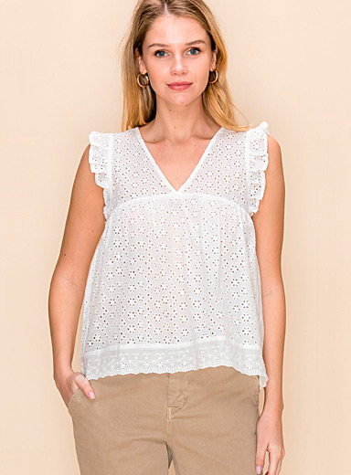 Ruffle broderie anglaise blouse