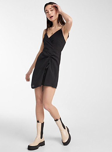 Twik Black Side ruched dress for women