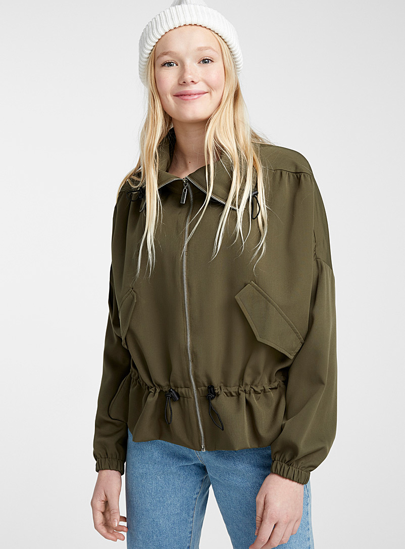 Twik Mossy Green Batwing-sleeve jacket for women