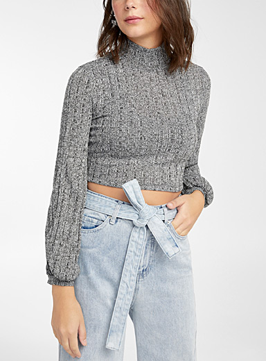 Twik Grey Puff sleeve ultra cropped high-neck for women