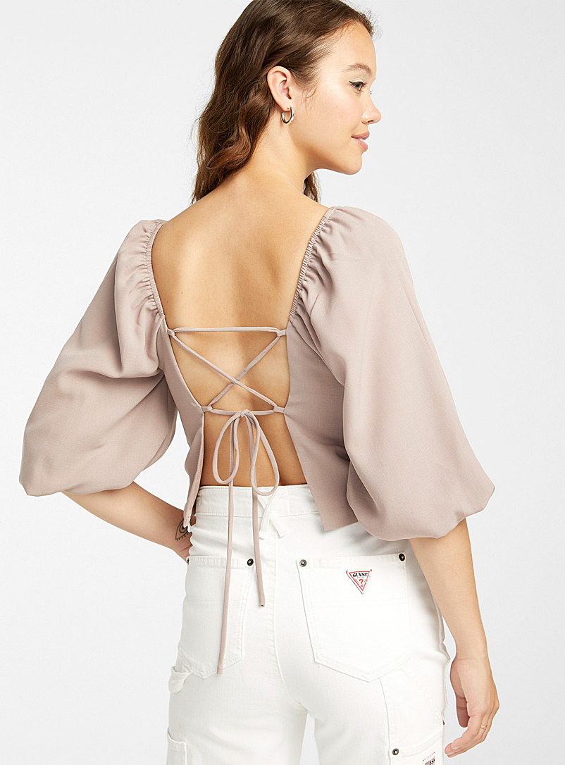 Twik Mauve Crossover-cord puff-sleeve blouse for women